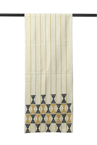 Suti Extra Weft Woven Table Runner in Natural Colour