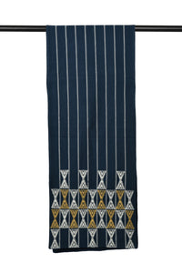 Suti Extra Weft Woven Table Runner in Navy