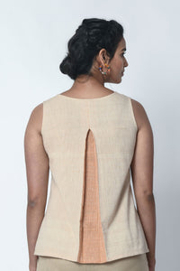 Beige And Orange Stripe Panel Sleeveless Top With Box Pleat