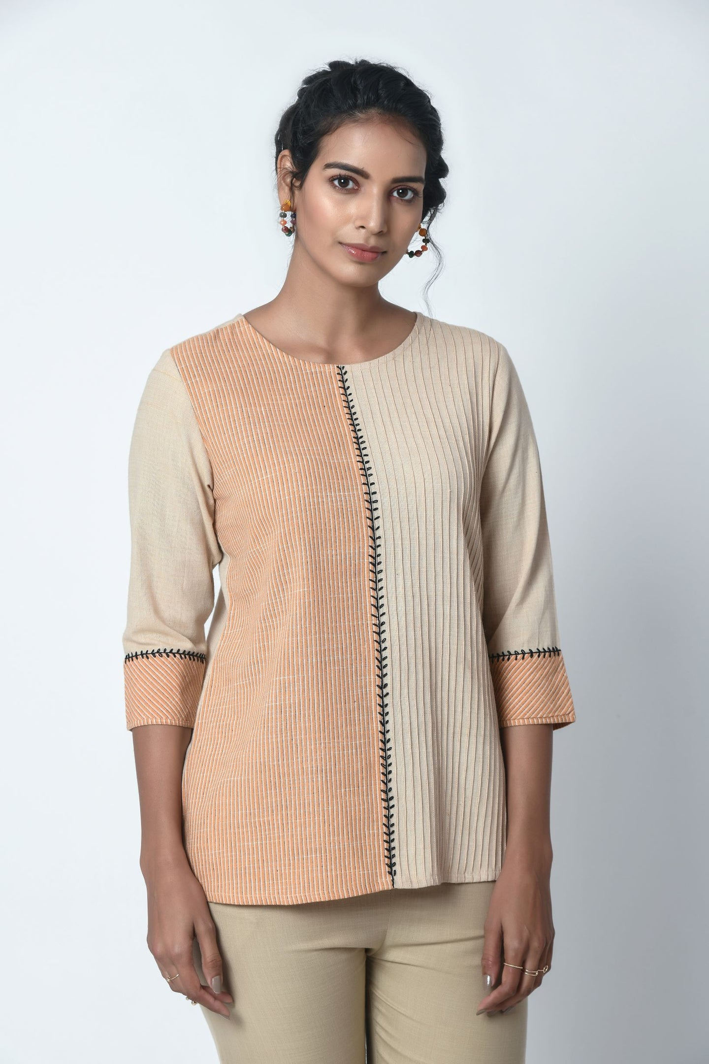 Beige And Orange Stripe Pintuck Top