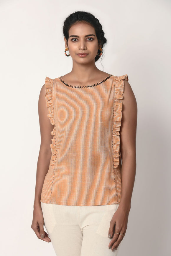 Orange Stripe Top With Frills
