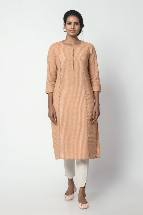 Orange Stripe Kurta With Princess Seam