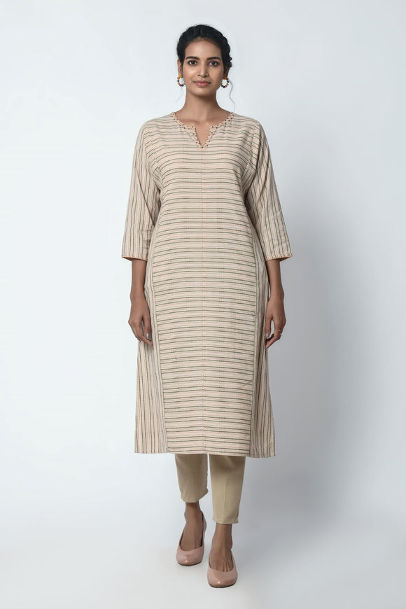 Beige Dobby Stripe Kurta With Gazette