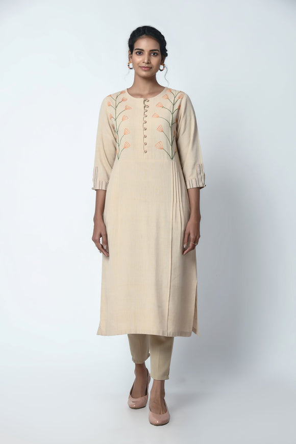 Beige Kurta With Pleats