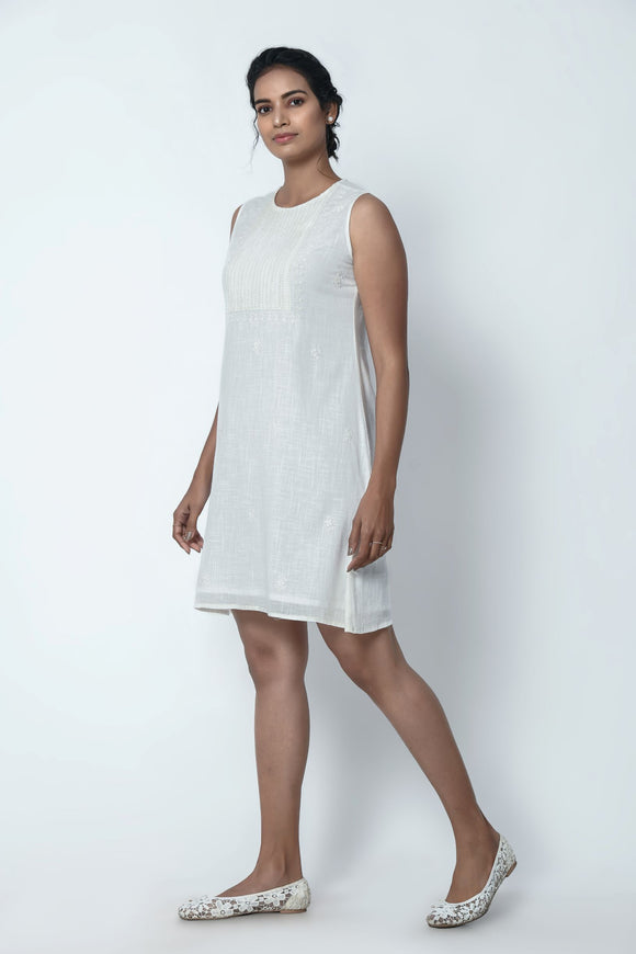 Ivory White Sleeveless Dress With Chikankari Embroidery
