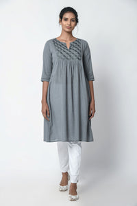 Lava Grey Gathered Kurta