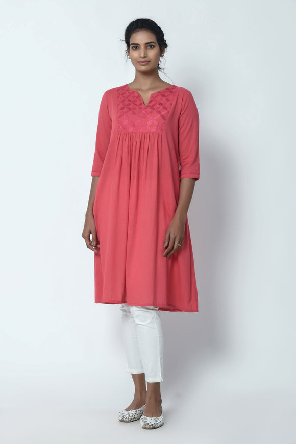 Dusty Pink Gathered Kurta