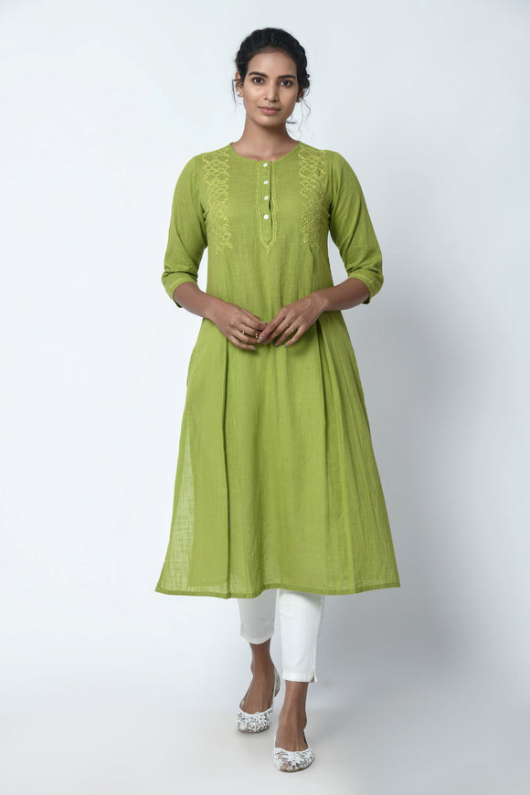 Mint Green Kurta With Chikankari Embroidery
