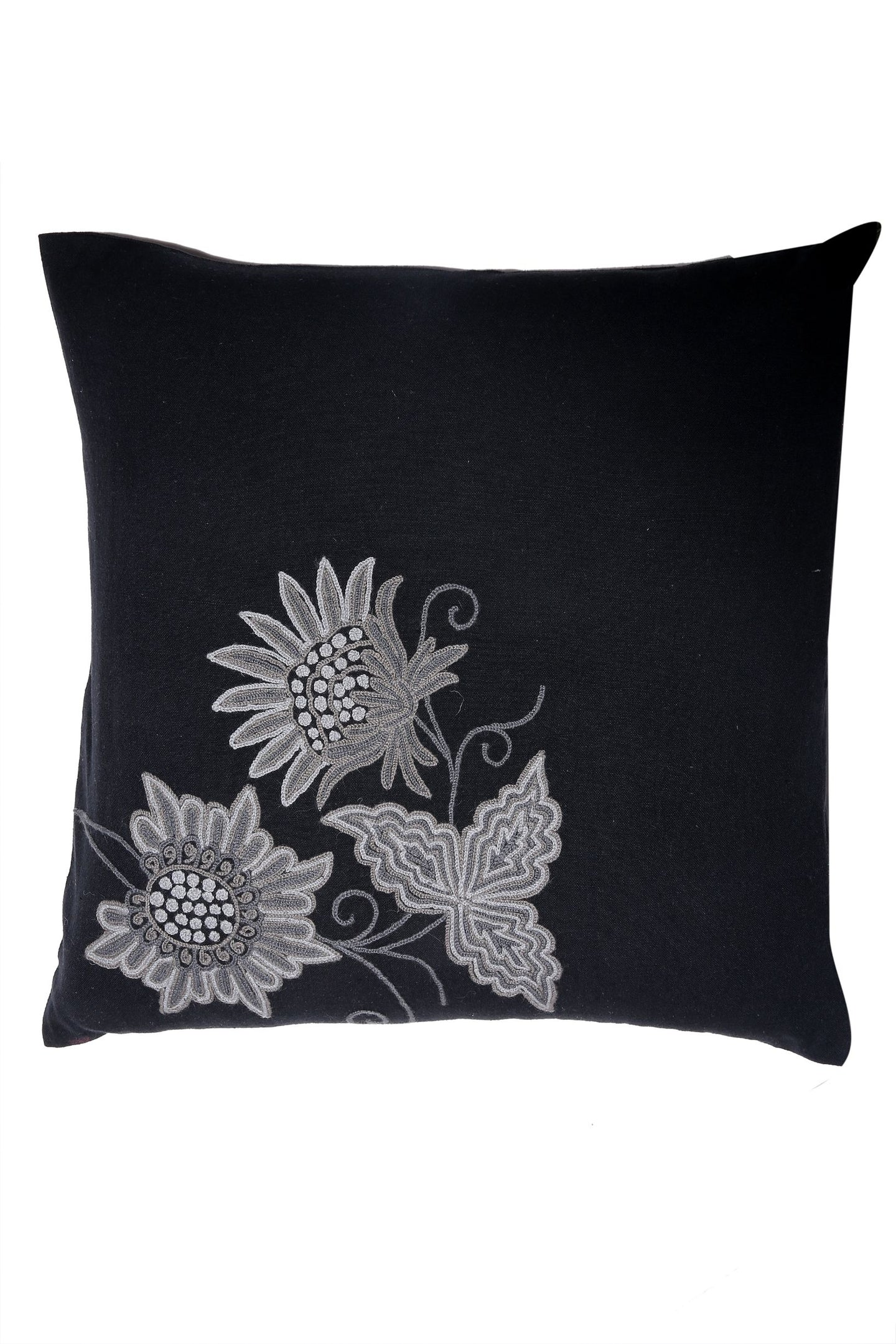 Black Kashmiri Hand  Embroiderered Floral Cushion Cover