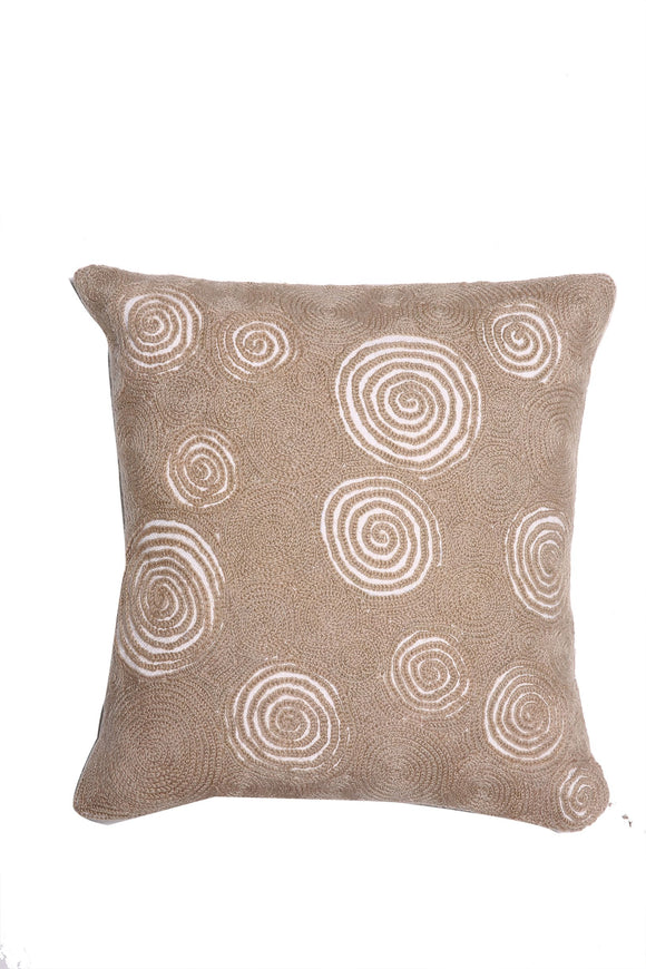 Natural Kashmiri Hand Embroidererd Spiral Motif Cushion Cover