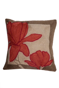 Natural Kashmiri Hand Embroidered Floral Cushion Cover