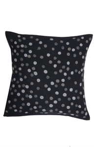 Black Kashmiri Hand Embroidered Polka Dotted Cushion Cover