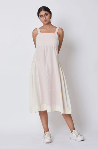 Off White & Pink Striped Woven Strap Sun Dress