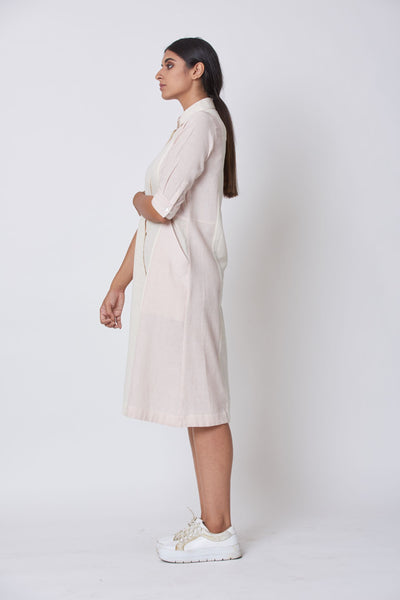 Off White & Pink Striped Woven Collared Dress