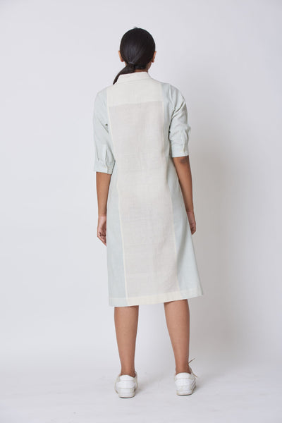 Off White & Green Striped Woven Collared Dress