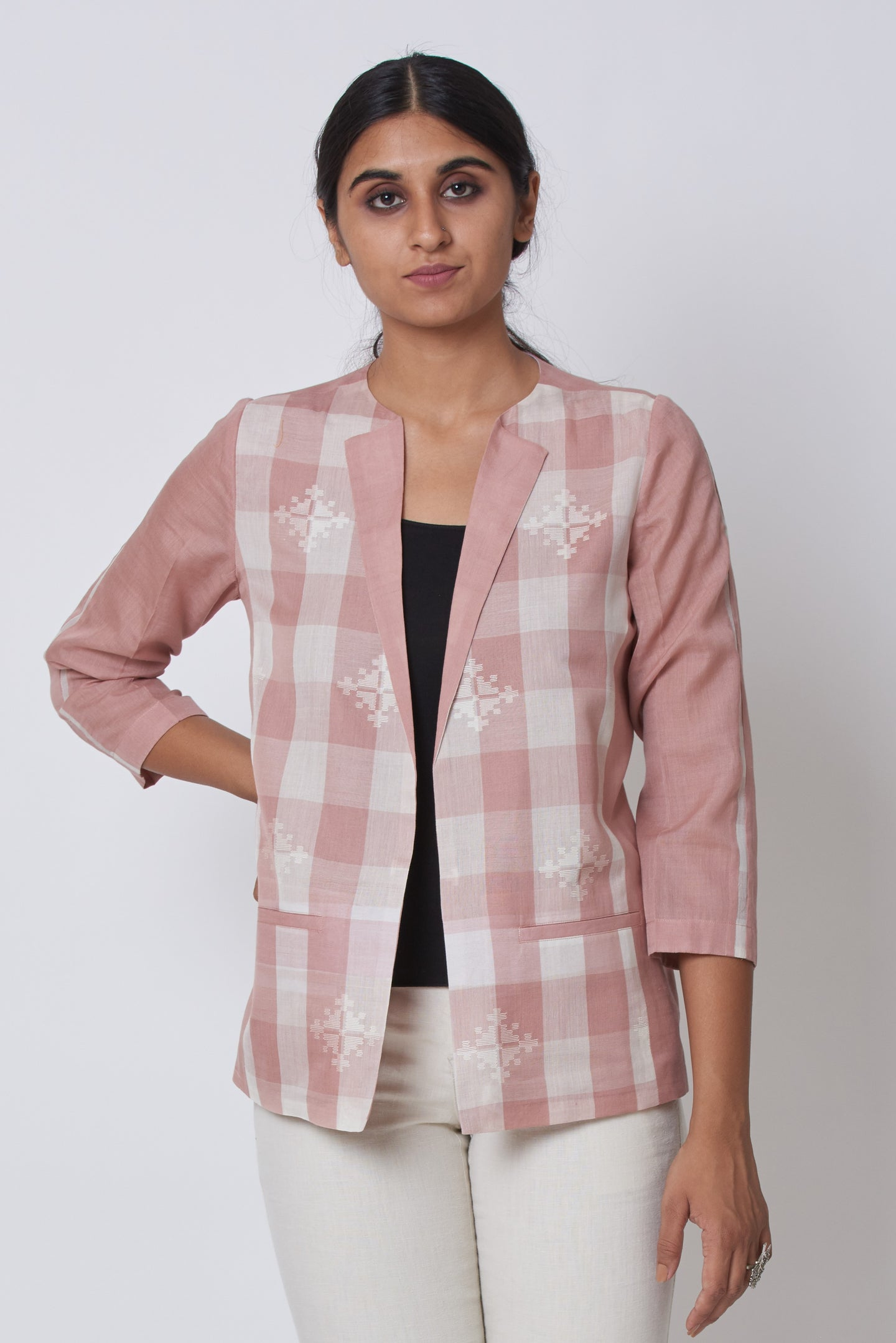 Pink Extra Weft Woven Jacket