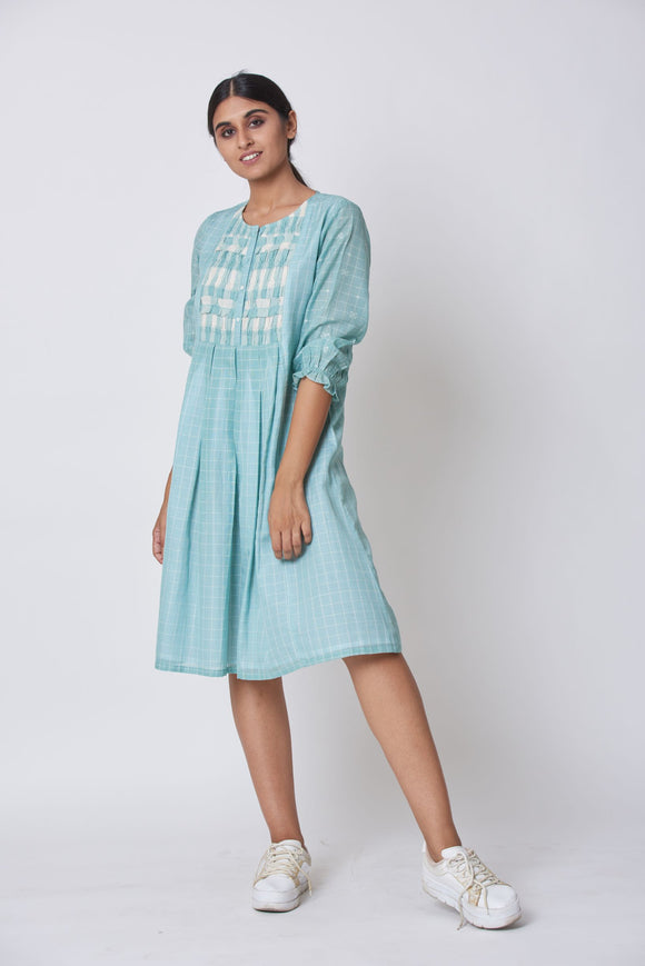 Blue Extra Weft Woven Dress
