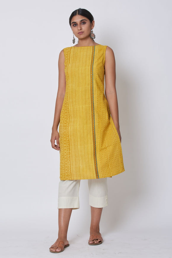 Yellow Ajrakh Dabu Printed Embroidered Kurta