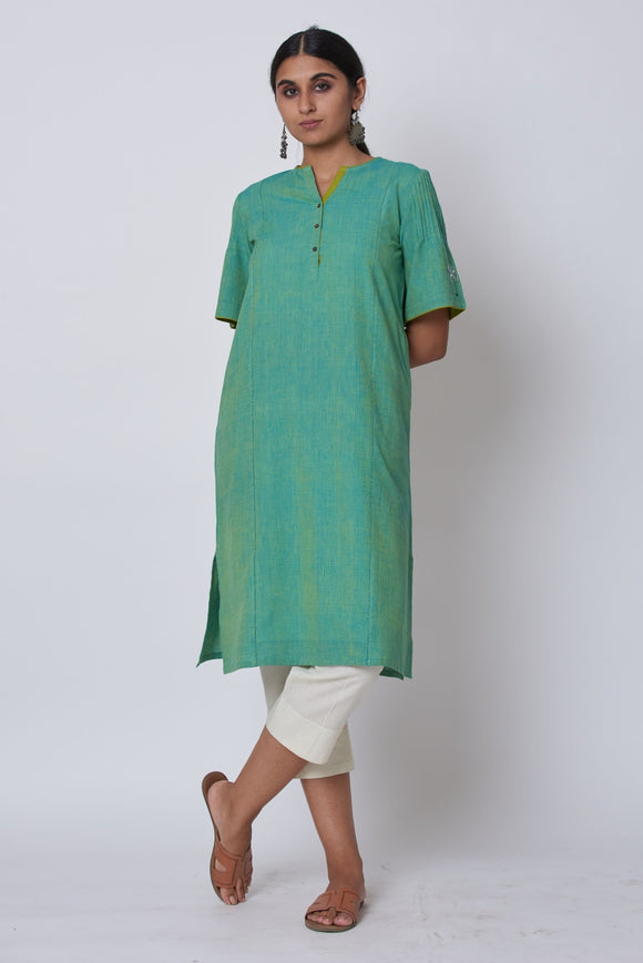 Green Hand Embroidered Woven Long Kurta