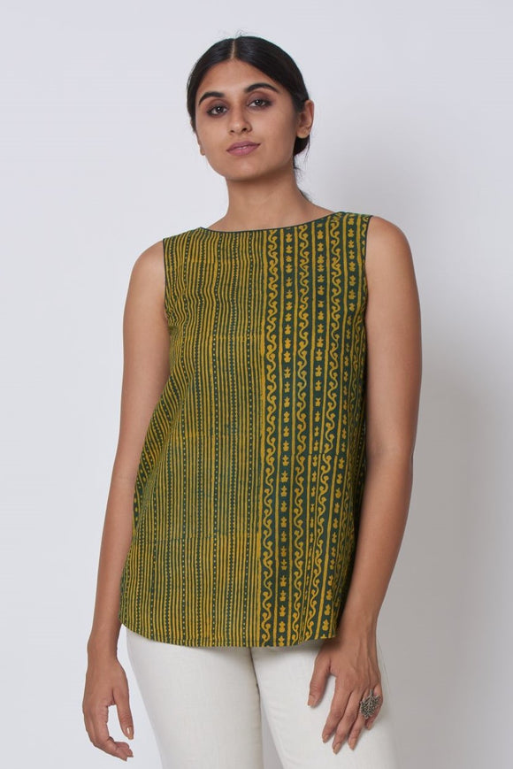 Green Ajrakh Dabu Printed Embroidered Top