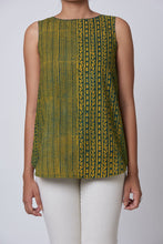 Load image into Gallery viewer, Green Ajrakh Dabu Printed Embroidered Top