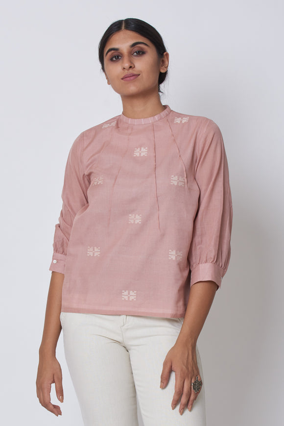 Pink Extra Weft Woven Top