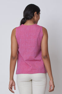Pink Hand Embroidered Woven Collar Top