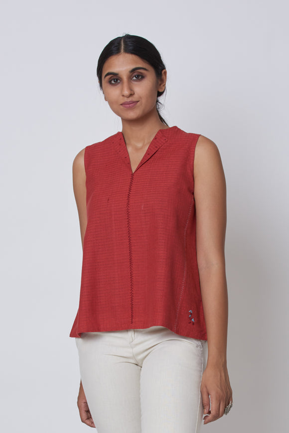 Rust Hand Embroidered Woven Collar Top