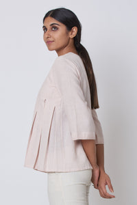 Off White & Pink Embroidered Woven Pleated Jacket