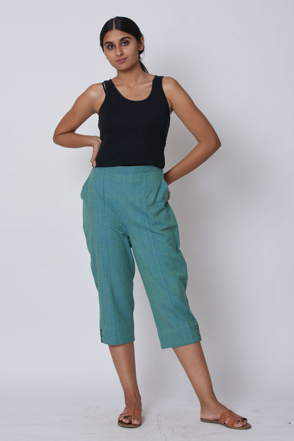 Blue Hand Embroidered Woven Trousers