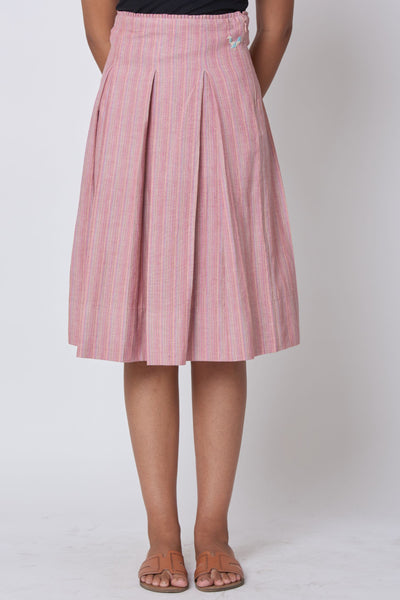 Pink Hand Embroidered Woven Pleated Knee Length Skirt