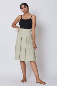 Green Hand Embroidered Woven Pleated Knee Length Skirt