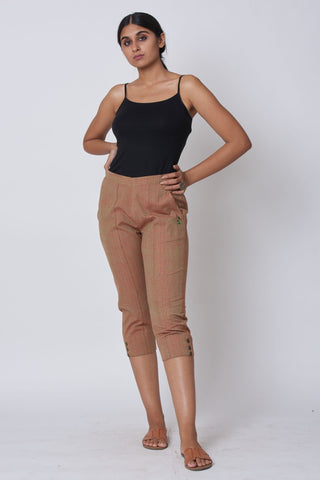 Beige Hand Embroidered Woven Trousers