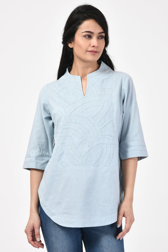 Light Blue Applique Cotton Top