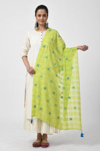 Green Hand Woven Embroidered Duptta