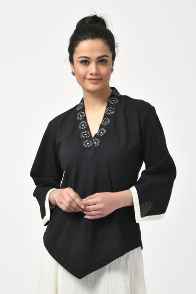Black Mirror Embroidered Hand Woven Top
