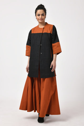 Khadi Black & Rust Long Jacket