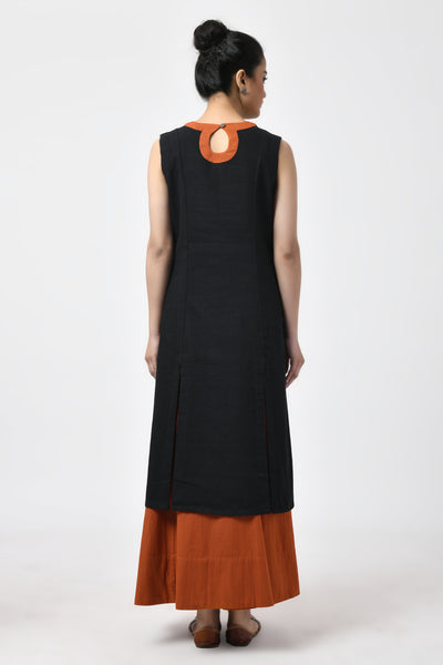 Black Hand Woven Cotton A-Line Kurta