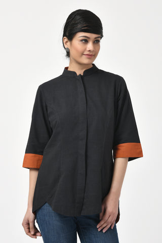 Black Hand Woven Cotton Shirt