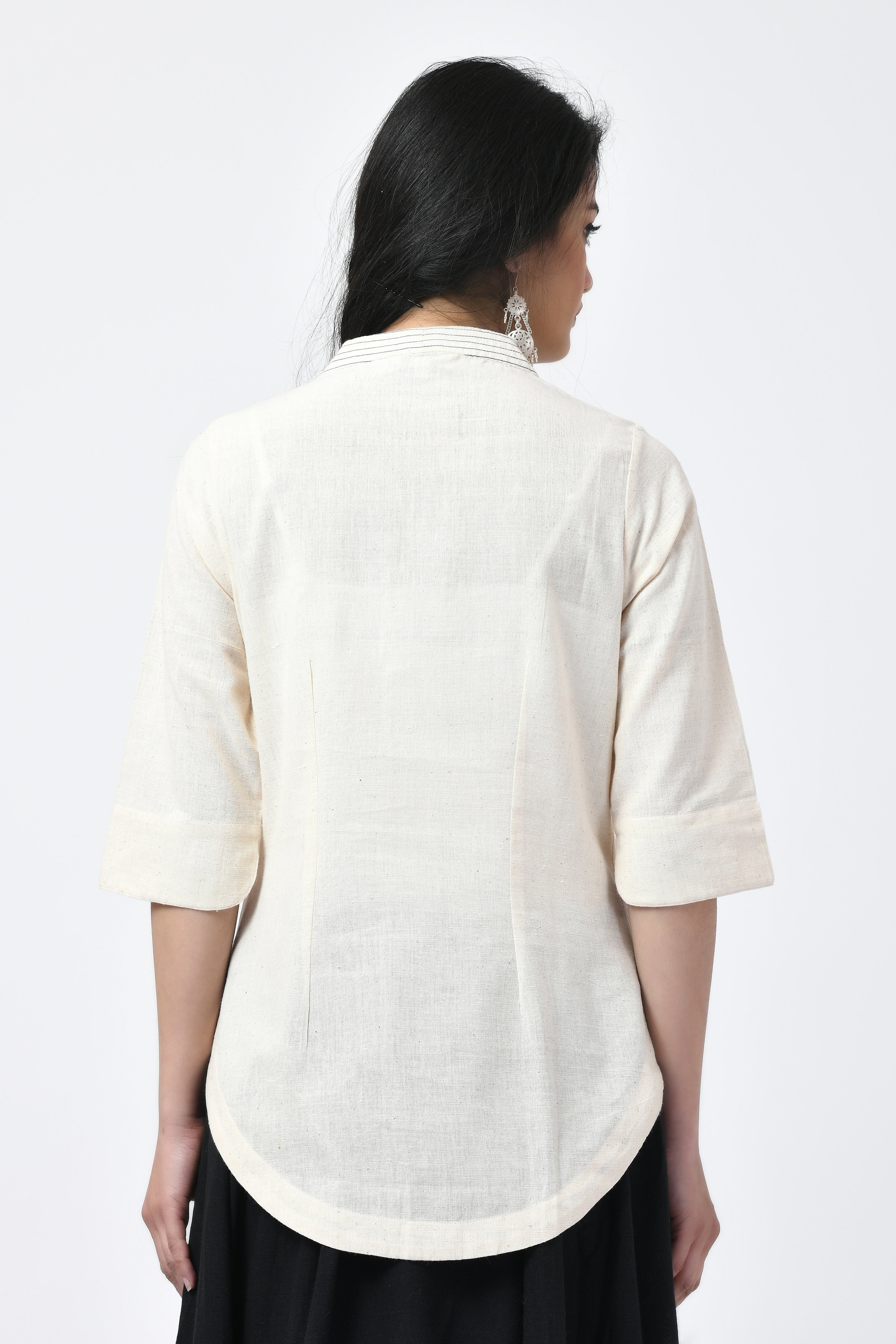 Hand Embroidered Natural Top