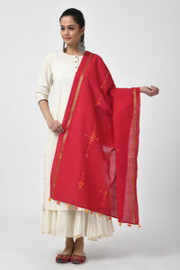 Red Hand Woven Embroidered Cotton Dupatta