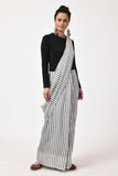 Extra Weft Black Grey Stripes Saree