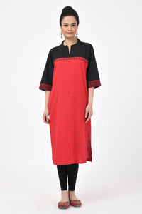 Extra weft Black and Red Kurta