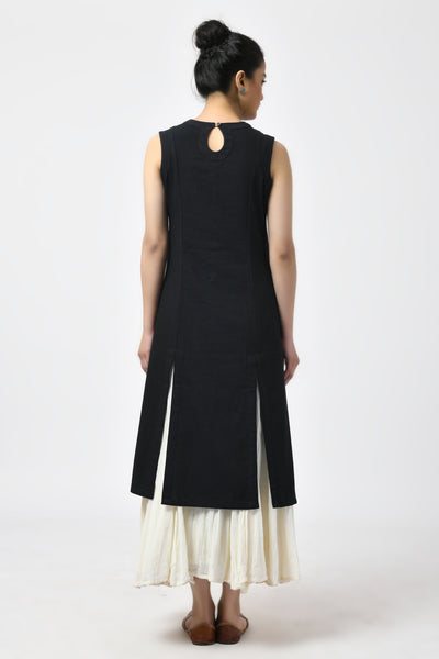 Black Mirror Embroidered Cotton A-Line Kurta