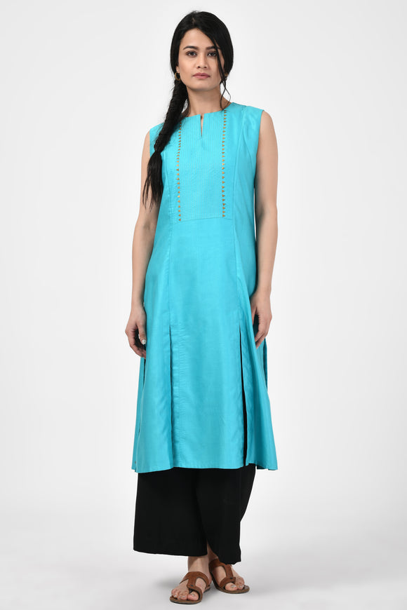 Turquoise Embroidered Tussar Silk A-Line Kurta