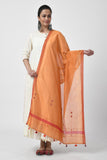 Orange Hand Embroidered Chanderi Dupatta