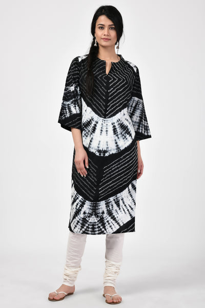 Black Bandhej Cotton Kurta