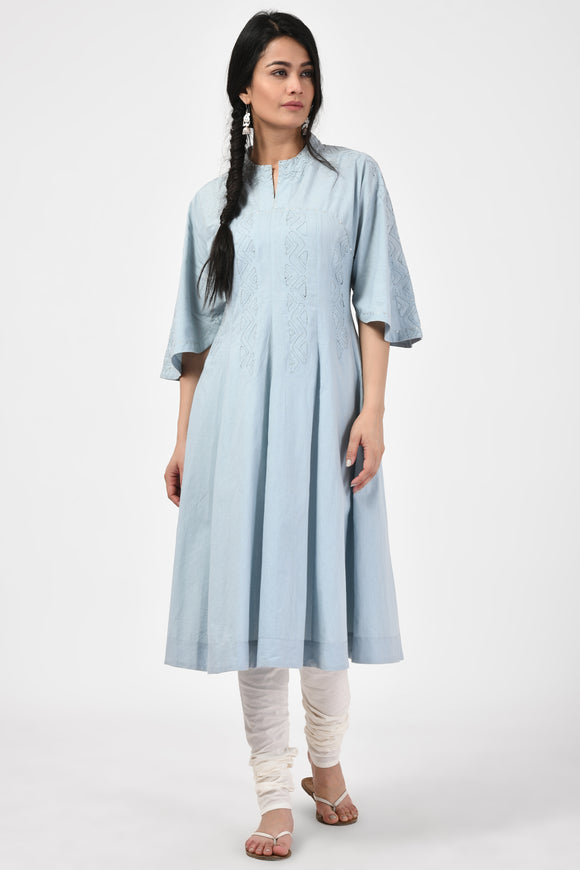 Light Blue Applique Cotton Anarkali Kurt