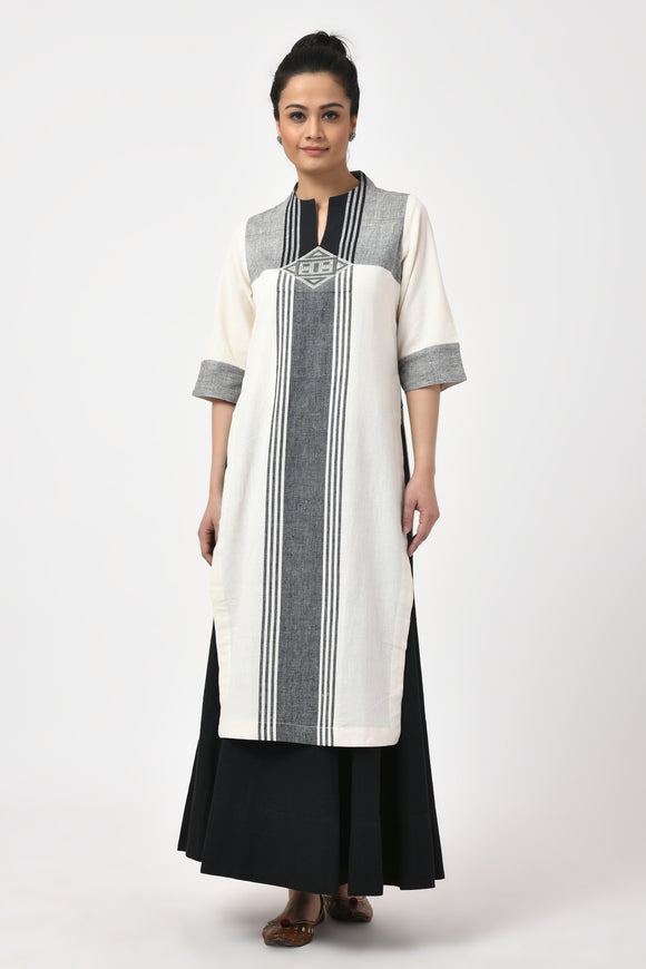 Ivory Hand Woven Cotton Long Kurta