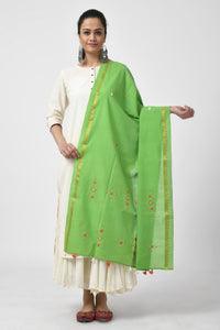 Green Hand Woven Embroidered Dupatta